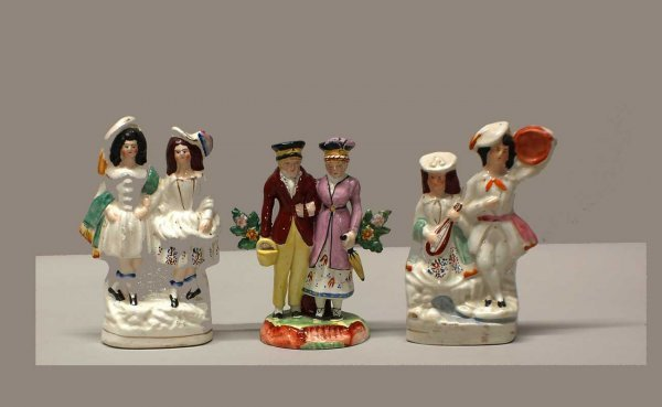 3A: 3 Pottery Figural Groups English C. 1900