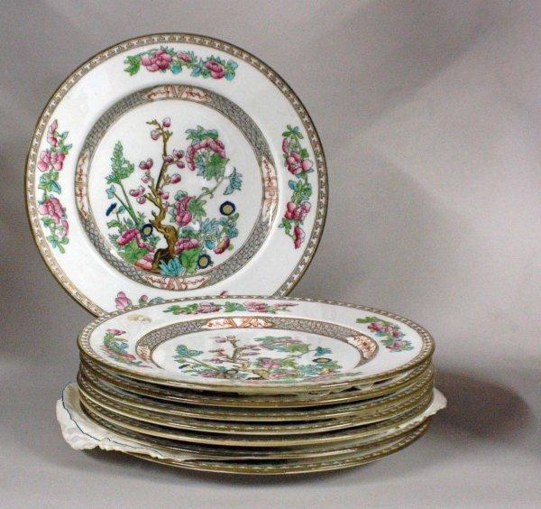 1001: Set of eight English Coalport porcelain dinner pl