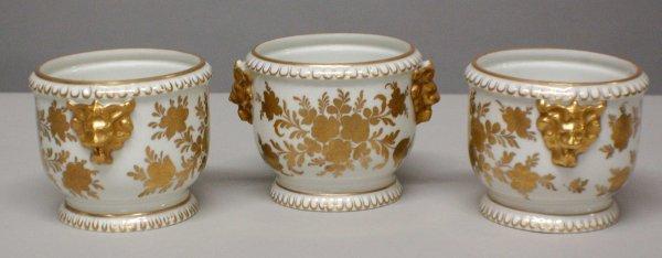 1002: Set of three gilt decorated Paris porcelain jardi