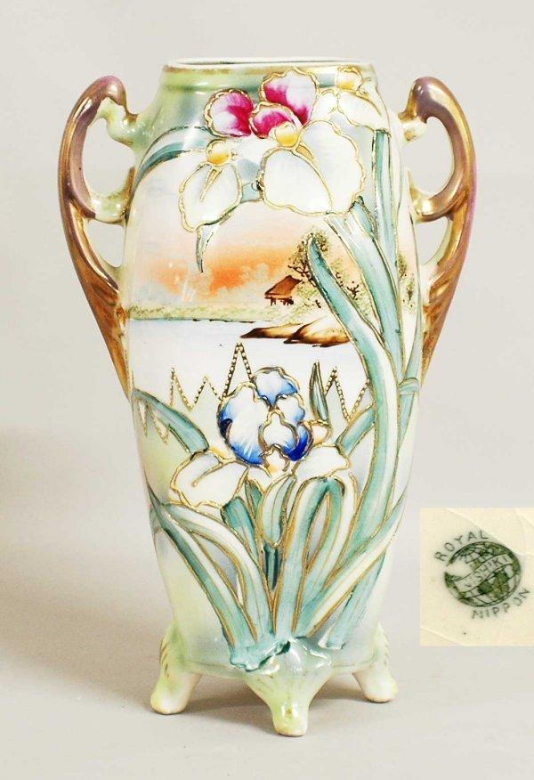 1003: Royal Nippon porcelain twin handled landscape vas