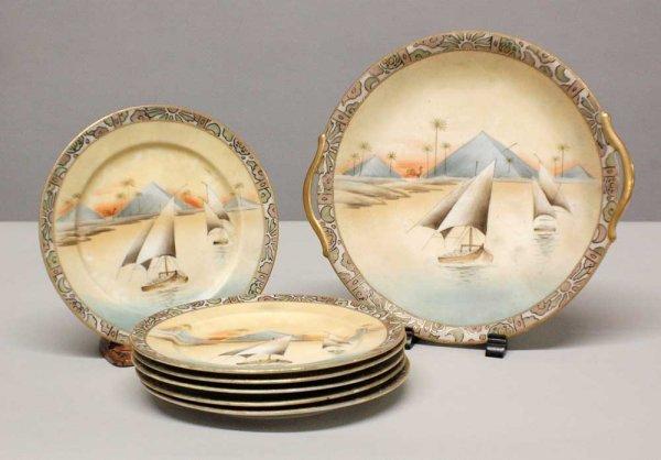 1005: 7 pcs. Nippon porcelain cake service composing of