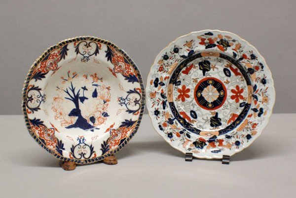 1008: Two English porcelain soup bowls by Royal Crown D