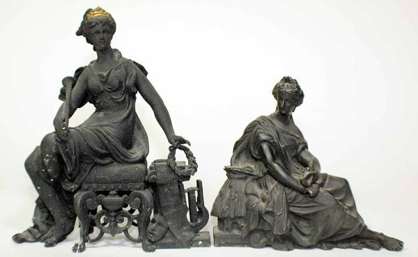 1011: Two painted metal seated female figures. (100/150