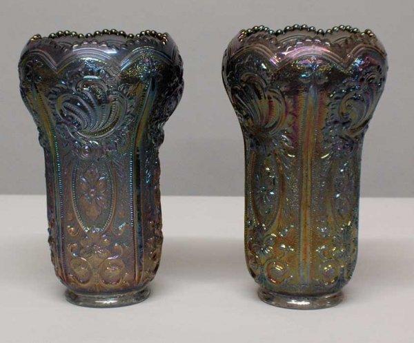 1013: Pair of molded carnival glass vases. (100/150)