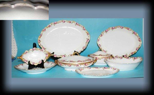 1015C: 8 French Porcelain Serving Pieces w/ hand painte