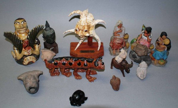 1009A: Box lot of various pottery, wood, bronze and cer