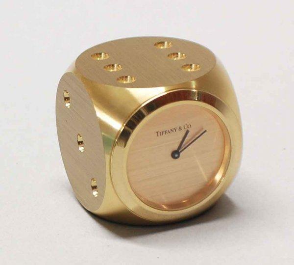 """2: Tiffany & Co. Gilt Bronze """"Dice"""" Clock,American 20th"""