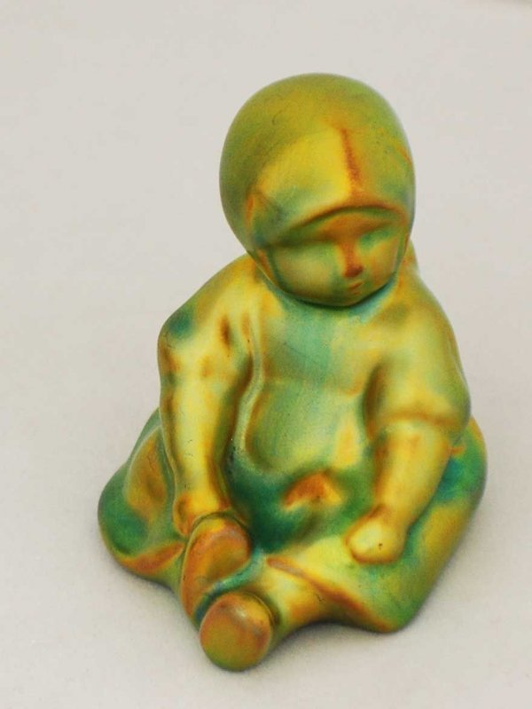3: Zsolnay Porcelain Figure of a Seated Girl,Hungarian,