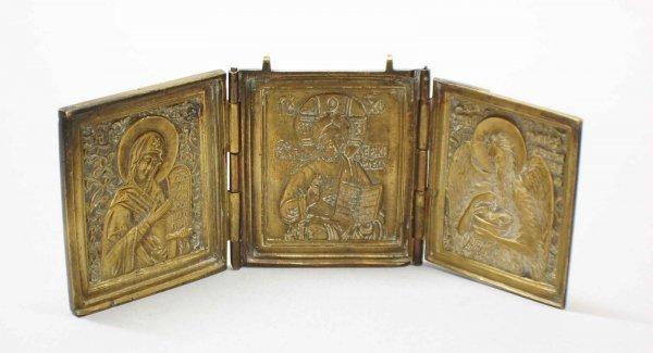 5: Brass Travel Triptych Icon, Greek 19th Century openi