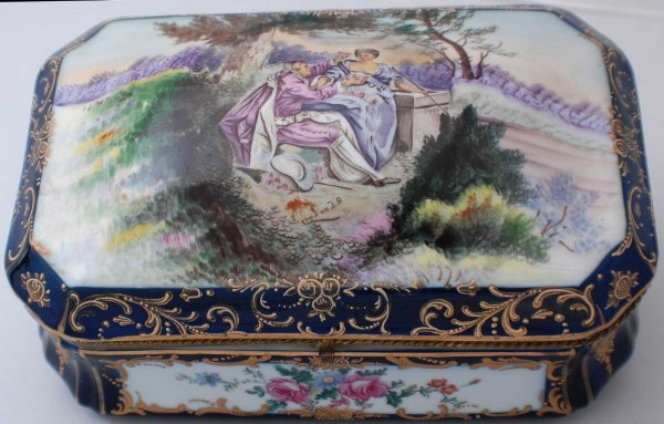 """15: """"Sevres"""" Style Brass Mounted Porcelain Box, The rec"""