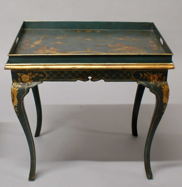 16: Victorian Chinoiserie Decorated Green Tole Butler's