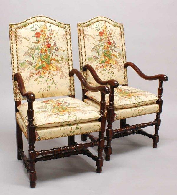 99: Pair of Renaissance Style Oak Hall Armchairs, Flemi
