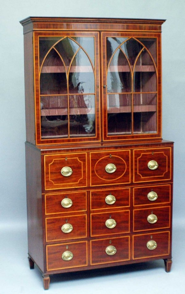 226: George III Inlaid Mahogany Bookcase Cabinet Englis