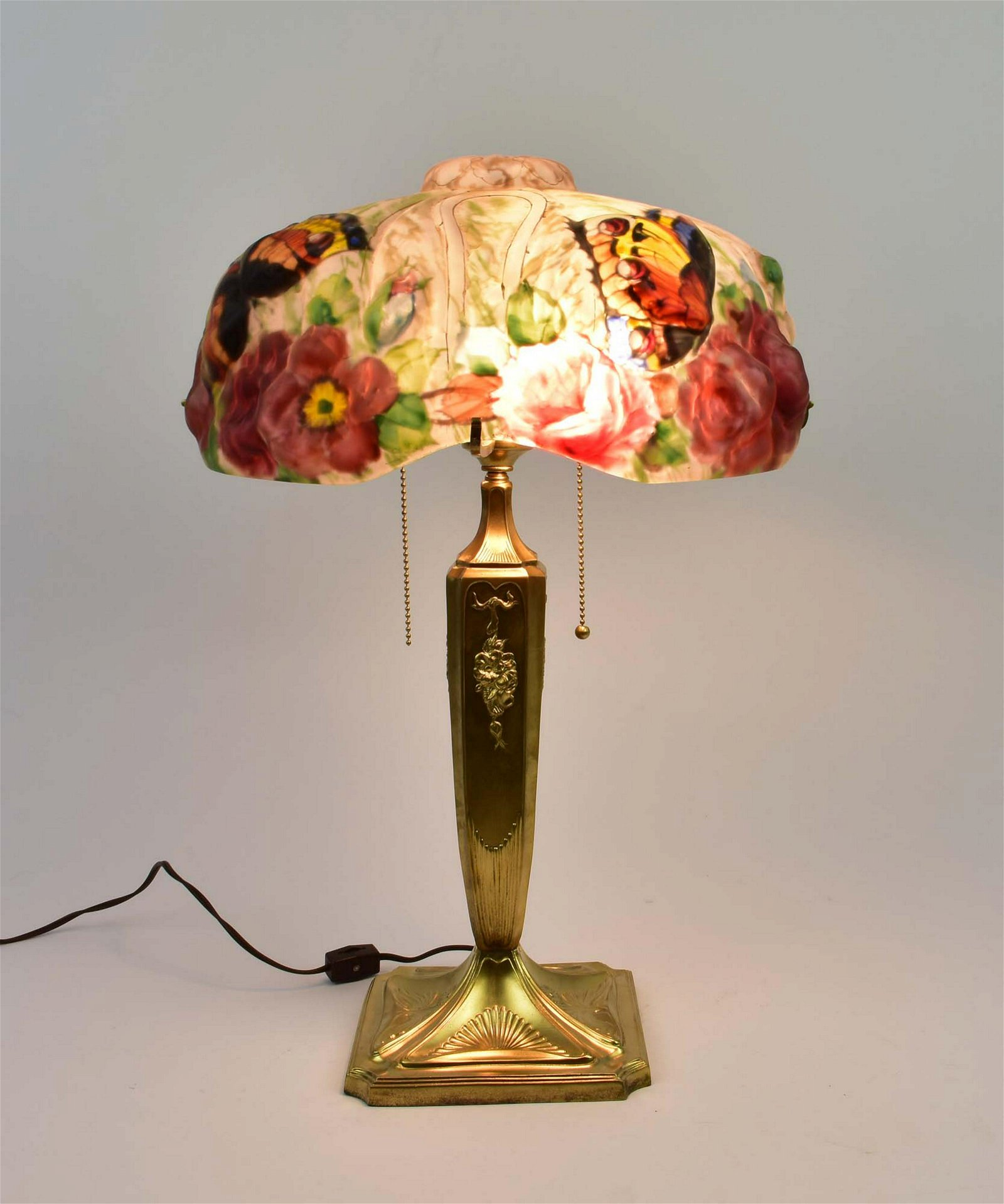 PAIRPOINT PUFFY PAINTED GLASS BUTTERFLY LAMP