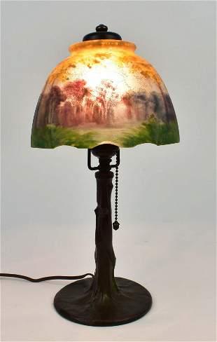HANDEL REVERSE PAINTED GLASS BOUDOIR LAMP