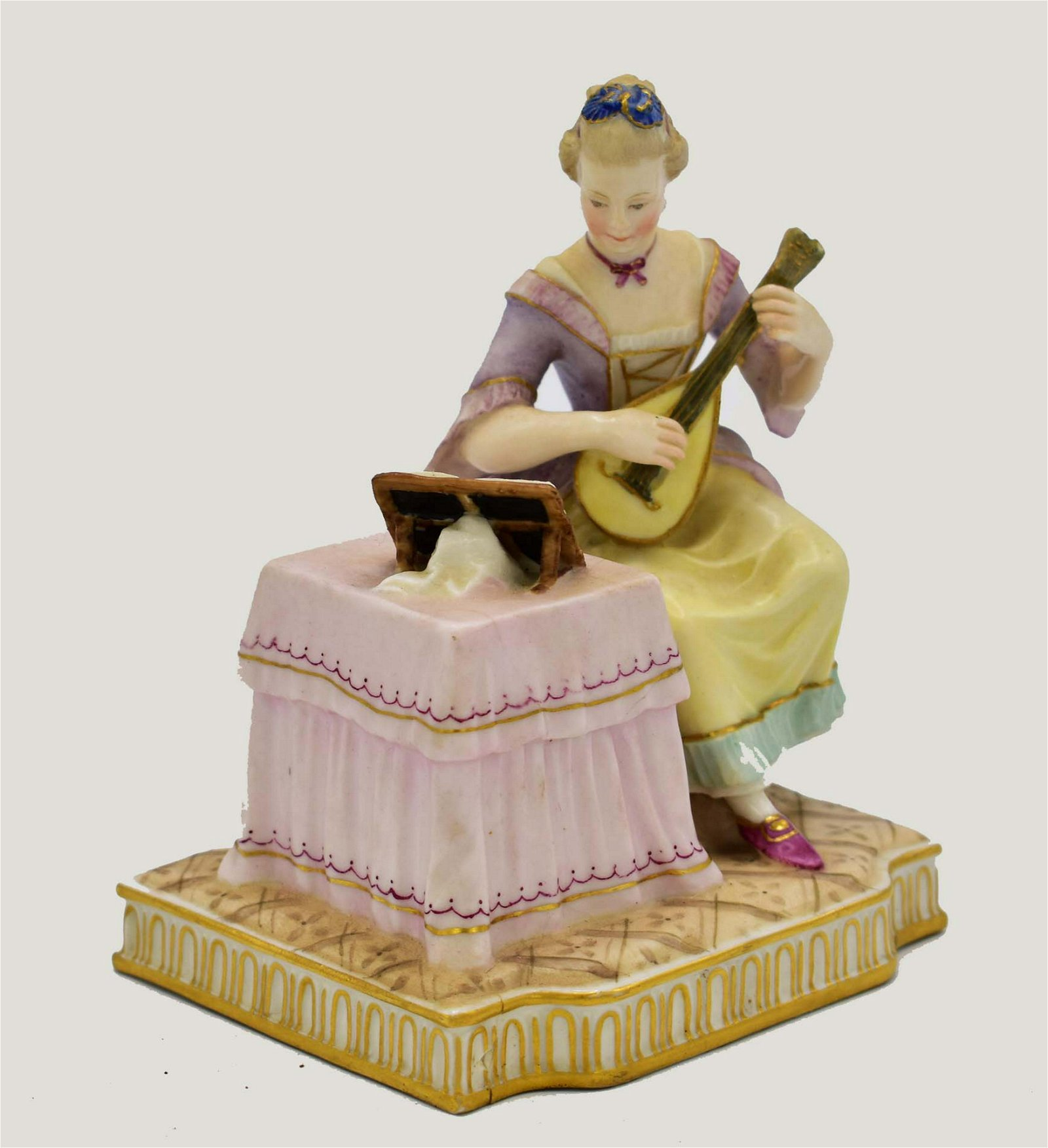 ROYAL VIENNA PORCELAIN GROUP OF A FEMALE MUSICAN