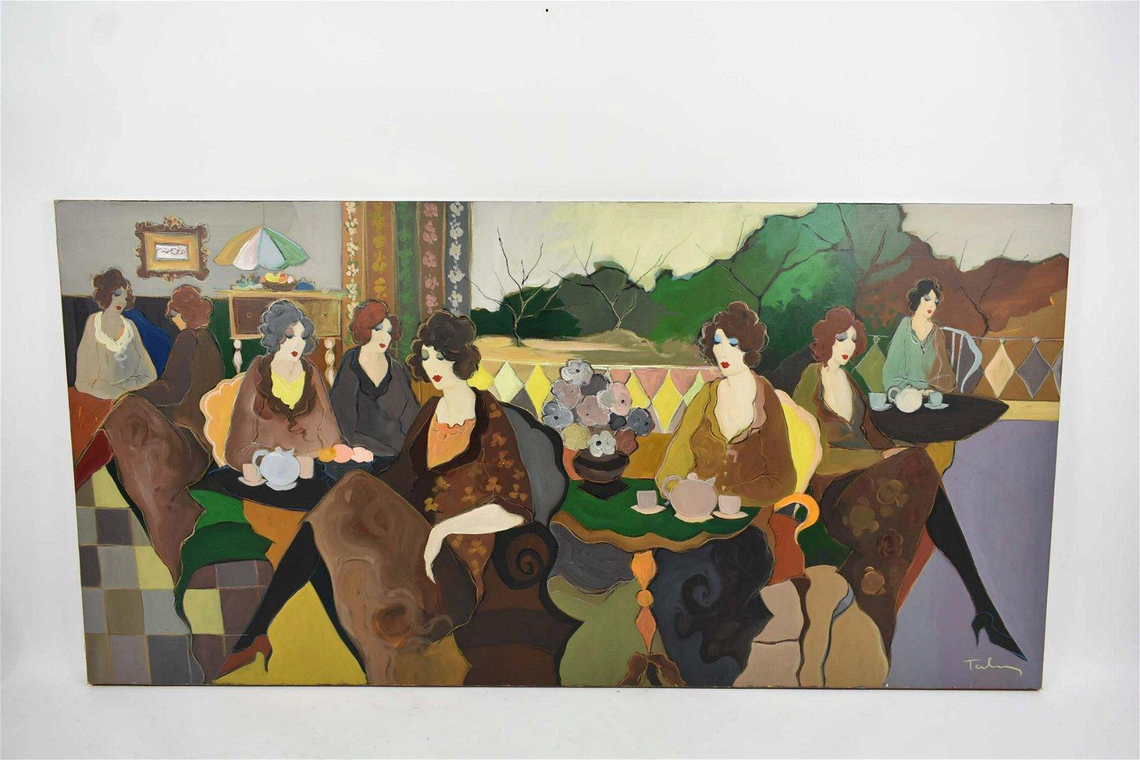 ITZCHAK TARKAY (b. 1935) CAFE LADIES PAINTING