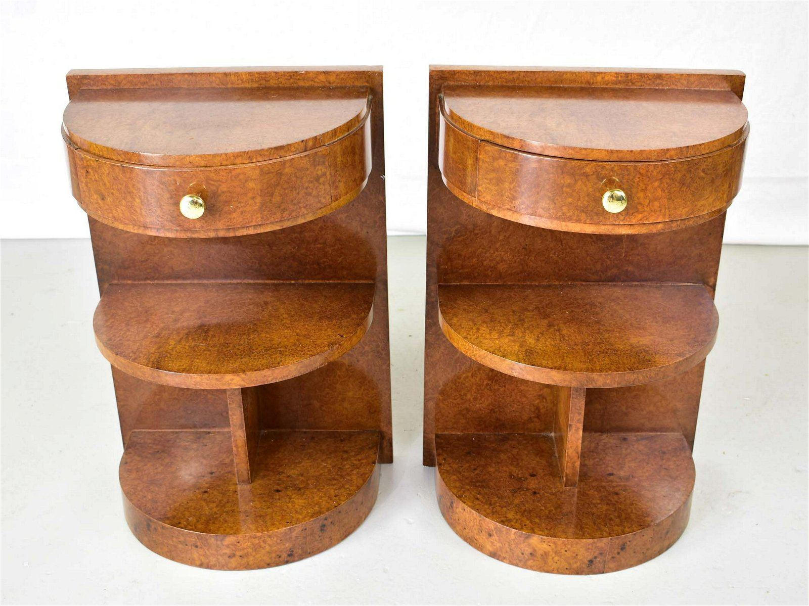 PAIR OF FRENCH ART DECO BURLWOOD BEDSIDE TABLES
