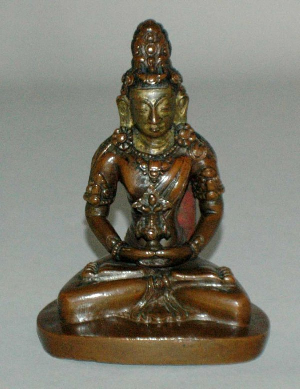 6: PATINATED BRONZE FIGURE OF BUDDHA