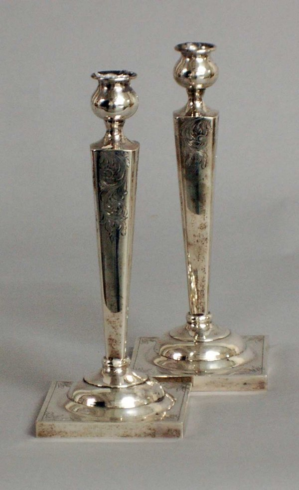 11: PAIR OF STERLING SILVER CANDLESTICKS