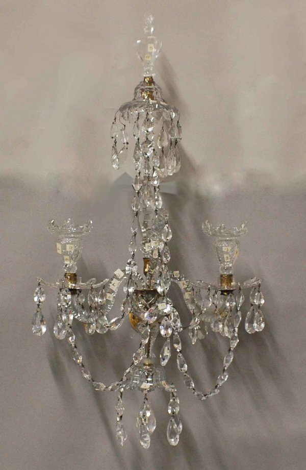 118: RARE PAIR OF GEORGE III CUT GLASS TWO LIGHT SCONCE