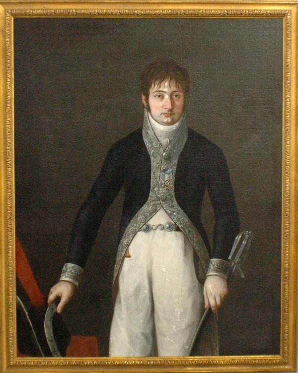 "195: SPANISH SCHOOL C. 1800.""Portrait of an Officer"". O"