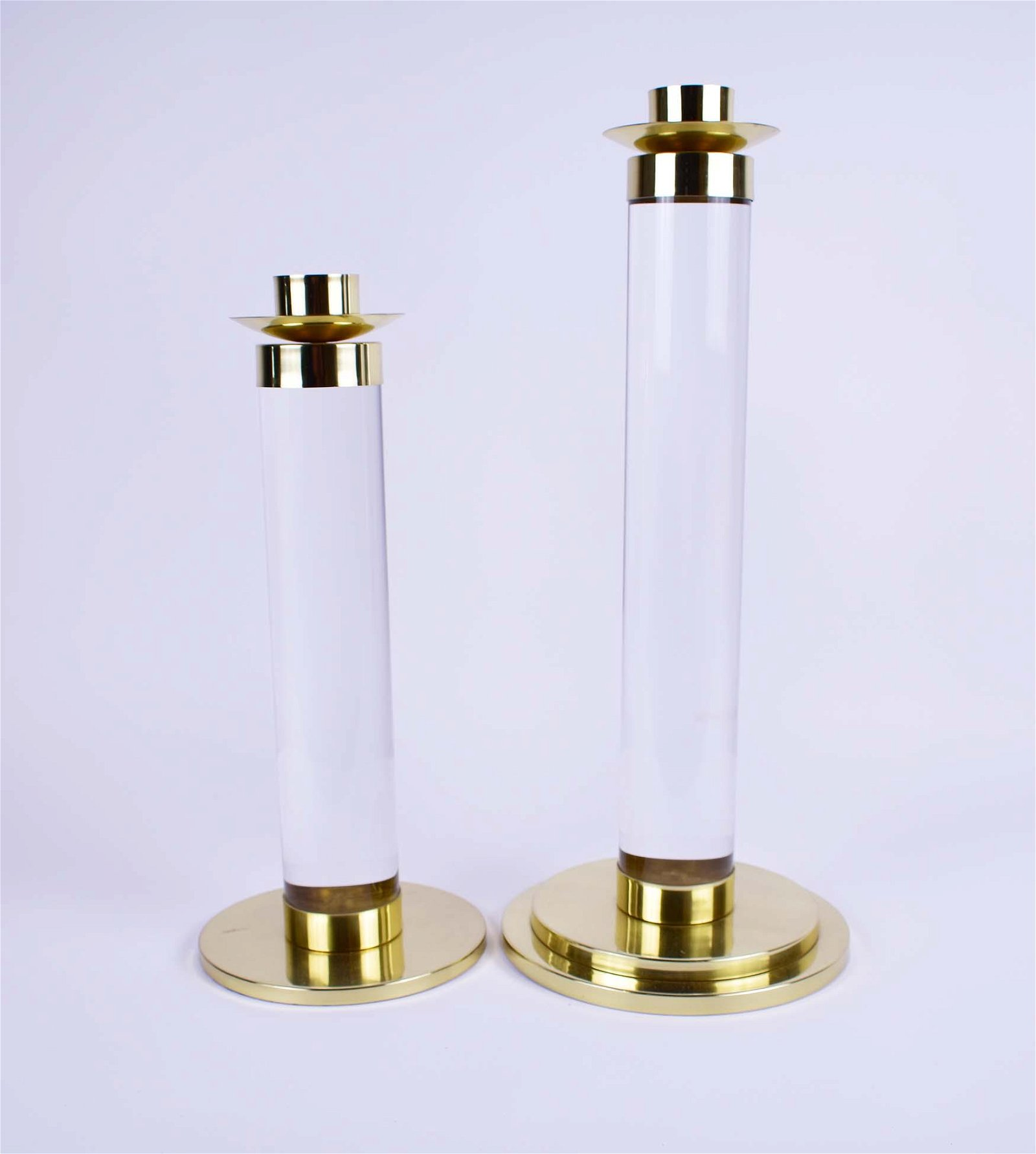 TWO CONTEMPORARY BRASS & GLASS COLUMNAR CANDLESTICKS