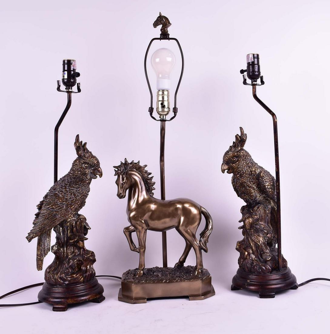 PAIR OF GILT RESIN COCKATOO LAMPS