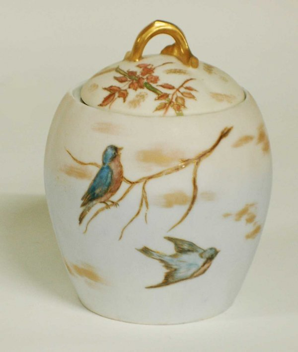 1004: LIMOGES PORCELAIN BISCUIT JAR AND COVER