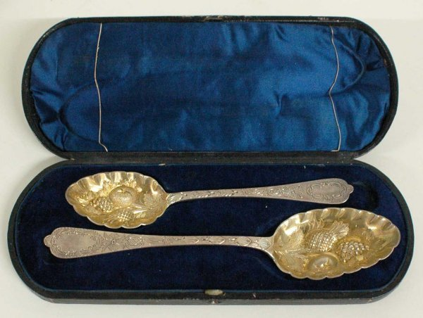 1010: TWO VICTORIAN PARCEL GILT S/P BERRY SPOONS