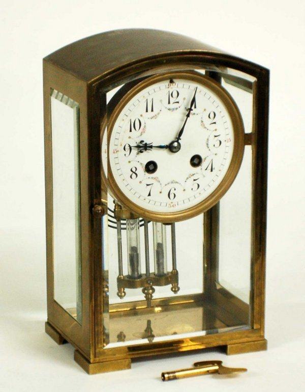 1020: TIFFANY & CO. BRASS AND GLASS CLOCK