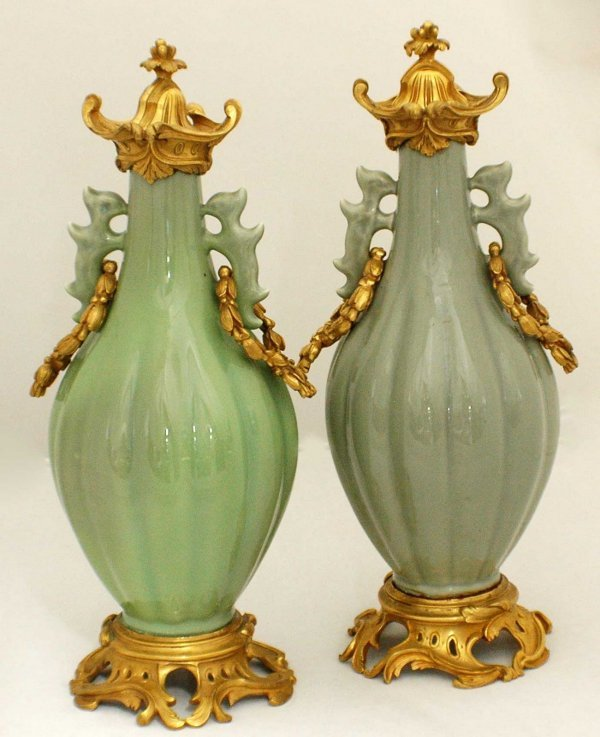 1070: FINE PAIR OF FRENCH CHINESE CELADON GLAZED VASES