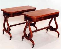1206: PAIR OF REGENCY ROSEWOOD CARD TABLES English. 1st