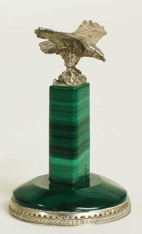 1007A: STERLING SILVER MOUNTED MALACHITE CABINET PIECE