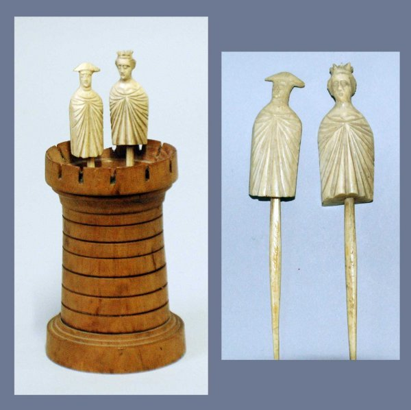 1: TWO FRENCH DIEPPE CARVED IVORY STICK PIECES