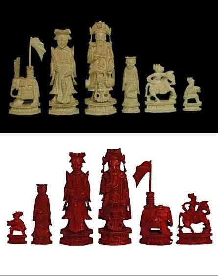 5: CHINESE EXPORT CARVED IVORY FIGURAL CHESS SET