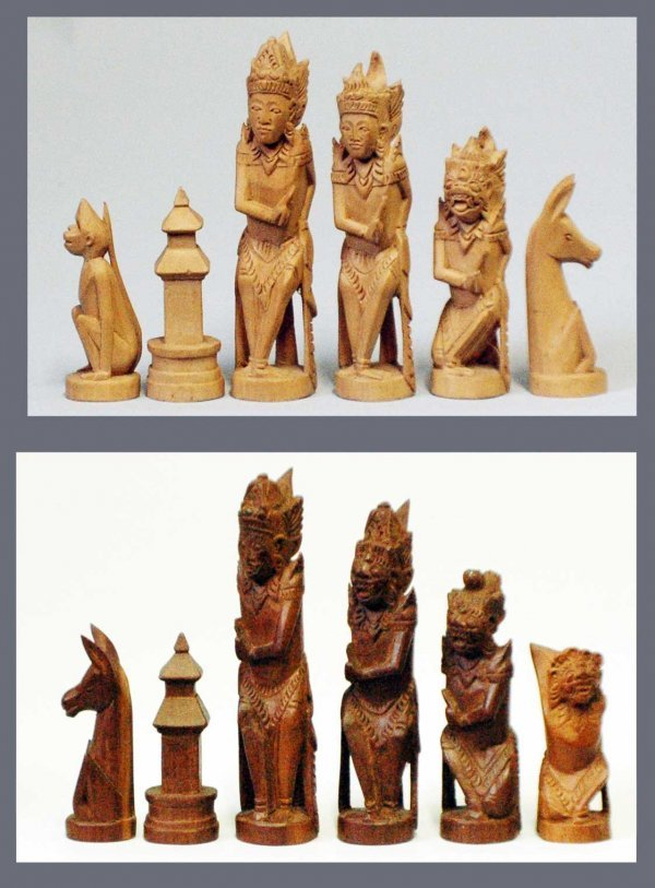 13: INDONESIAN HAND CARVED WOOD FIGURAL CHESS SET