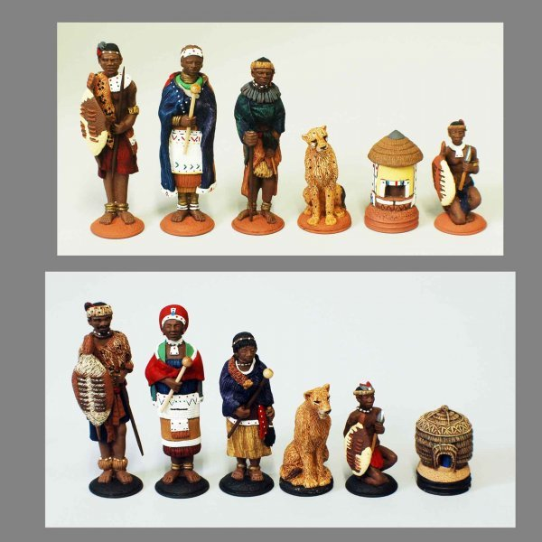 """19: AFRICAN HAND PAINTED FIGURAL """"TRIBAL"""" CHESS SET"""