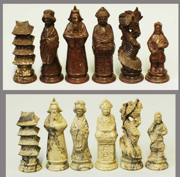 20: VIETNAMESE HAND CARVED MARBLE FIGURAL CHESS SET