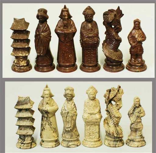 20 Vietnamese Hand Carved Marble Figural Chess Set