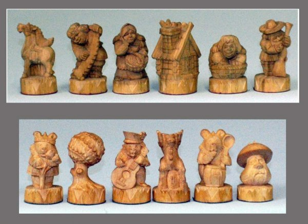 """21: UNIQUE RUSSIAN HAND CARVED WOOD """"HUMANS VS. ANIMALS"""