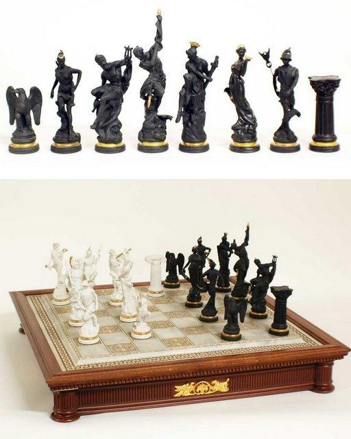 56 Franklin Mint Bisque Amp Porcelain Chess Set Of Gods
