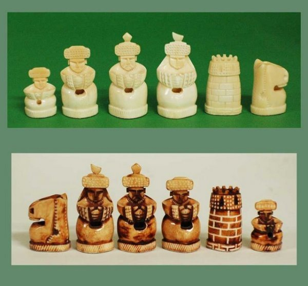 86: RUSSIAN CARVED BONE FIGURAL CHESS SET