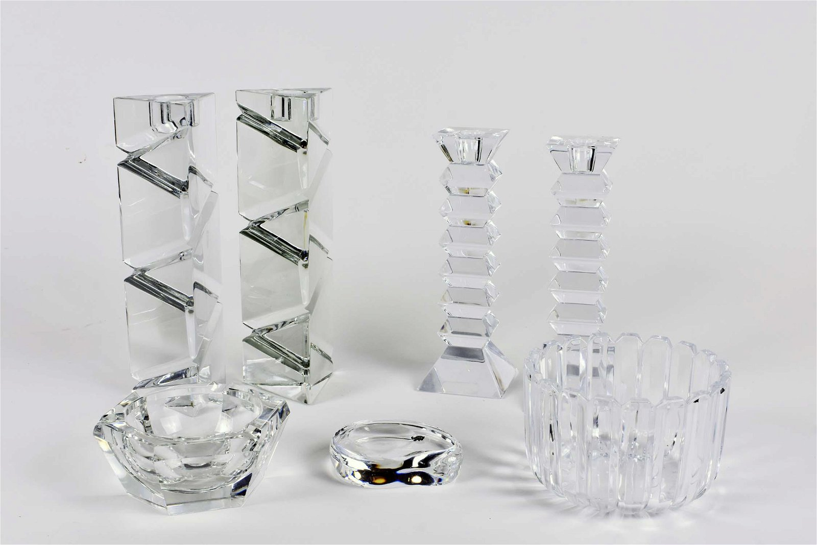 SEVEN COLORLESS GLASS TABLE ITEMS