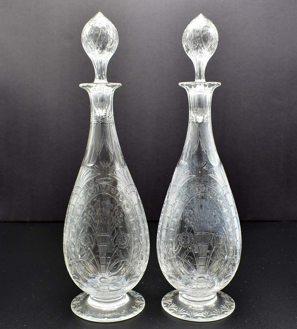 PAIR OF FINE ENGLISH ENGRAVED COLORLESS GLASS DECANTERS