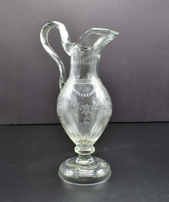 GEORGE III NEO-CLASSICAL ENGRAVED GLASS EWER
