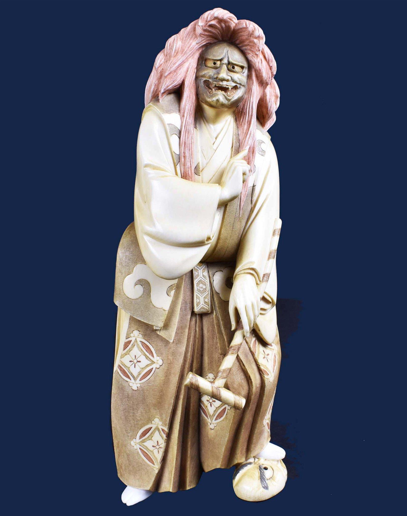 JAPANESE POLYCHROME OKIMONO OF AN ACTOR