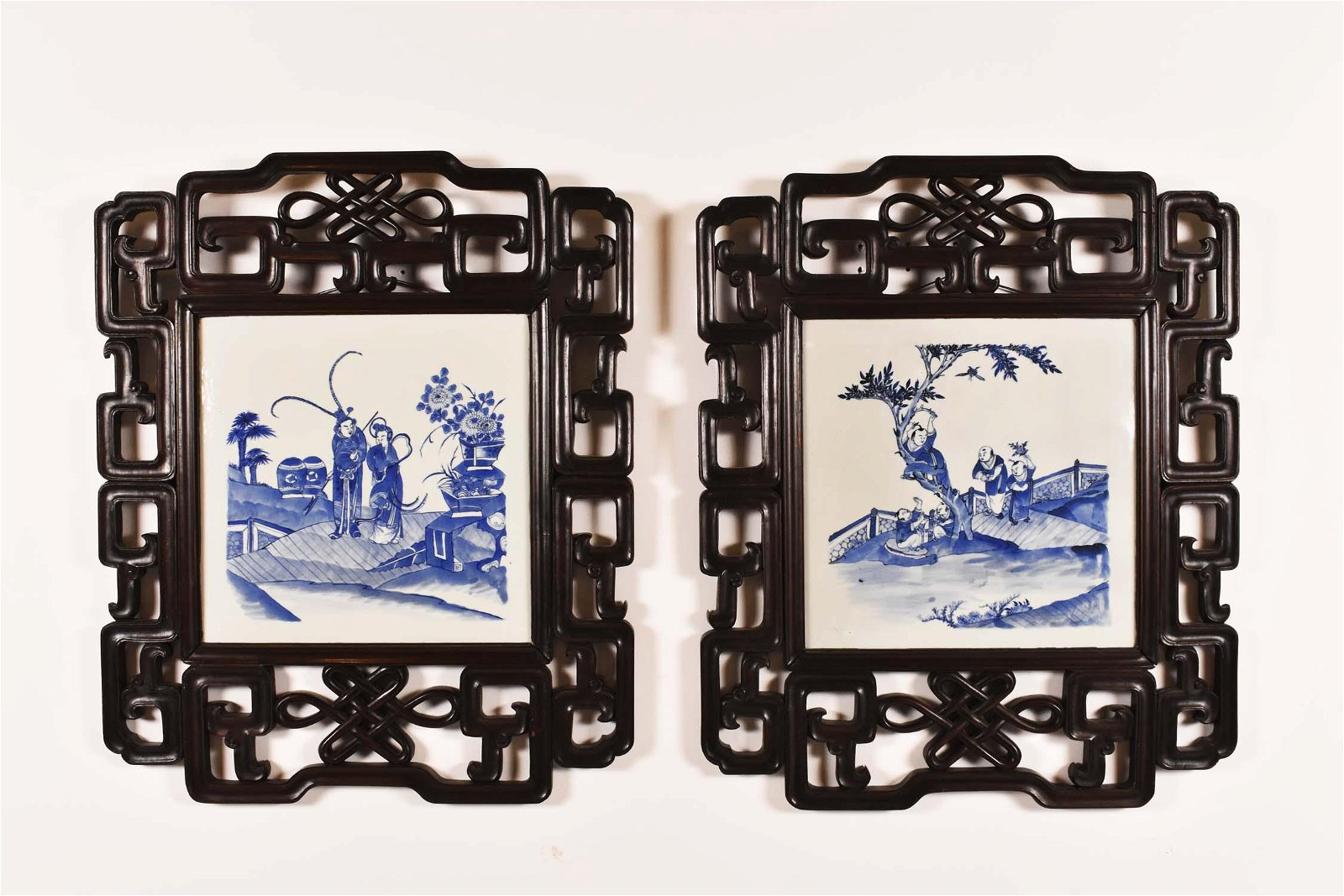 PAIR OF CHINESE BLUE & WHITE PORCELAIN PANELS