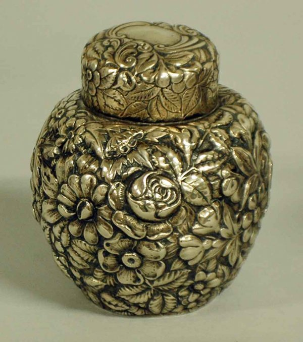 1008: FINE REPOUSSE STERLING SILVER TEA CADDY & COVER