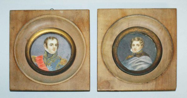 1009: PAIR OF MINIATURE PORTRAITS ON IVORY